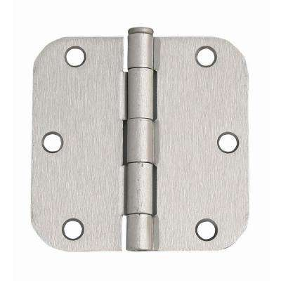3-1/2 in. x 3-1/2 in. - 5/8 in. Radius Satin Nickel Corner Door Hinge