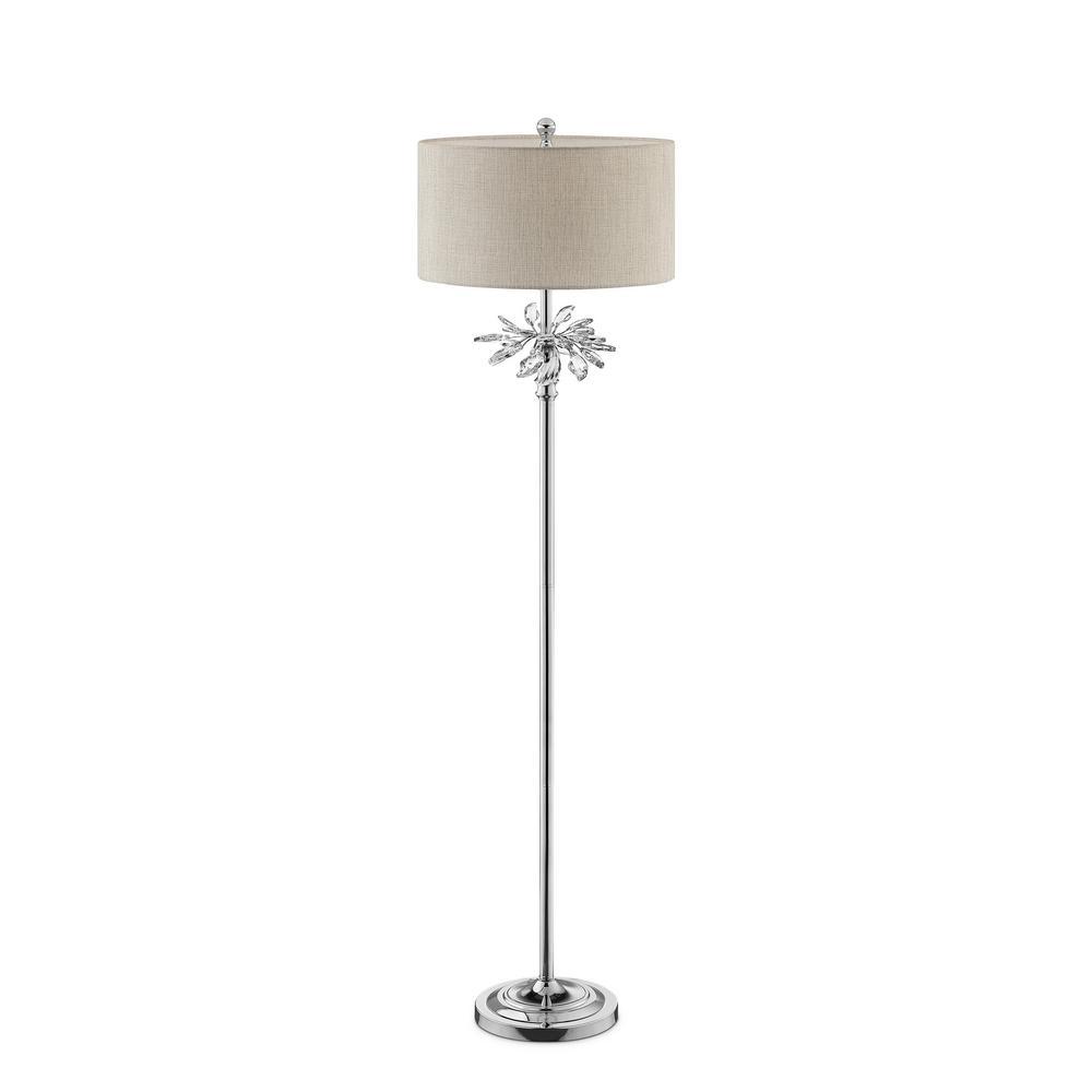 62.25 in. Ayana Starburst Crystal Silver Chrome Floor Lamp