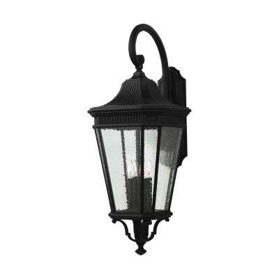 Cotswold Lane 4-Light Black Outdoor 36.25 in. Wall Lantern Sconce