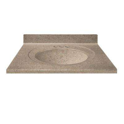 37 in. Cultured Granite Vanity Top in Brown Sugar Color with Integral Backsplash and Brown Sugar Bowl
