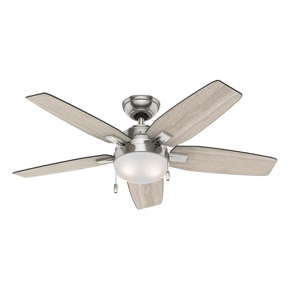 Hunter Antero 46 In Led Indoor Brushed Nickel Ceiling Fan With Light 59212 The Home Depot