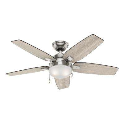 Antero 46 in. LED Indoor Brushed Nickel Ceiling Fan with Light on