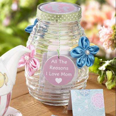 Small Reasons I Love Mom Decorative Memory Glass Jar with Memory Cards