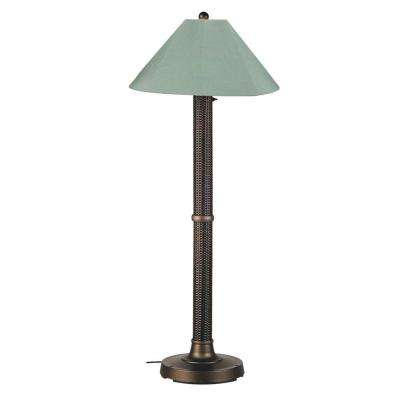 Bahama Weave 60 in. Dark Mahogany Floor Lamp with Spa Shade