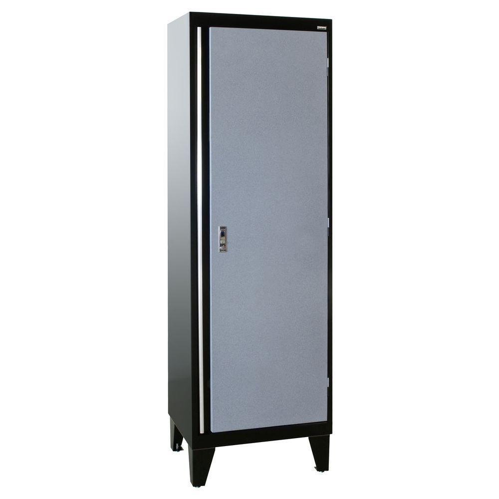 Sandusky 79 in. H x 24 in. W x 18 in. D Modular Steel Single Door Cabinet Full Pull in Black/Multi-Granite