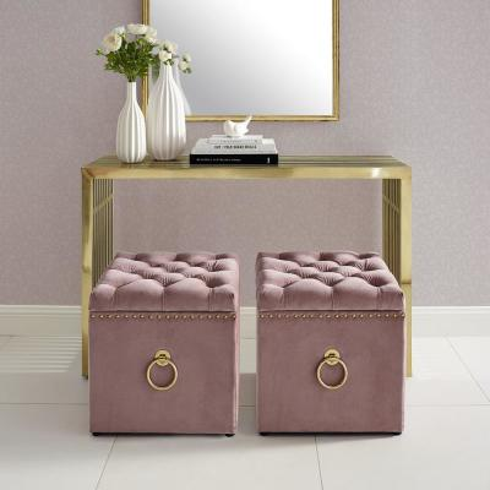 Micella Blush/Gold Velvet Nailhead Trim Cube Storage Ottoman
