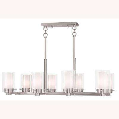 Manhattan 8-Light Brushed Nickel Chandelier with Hand Blown Clear and Opal Glass Shade