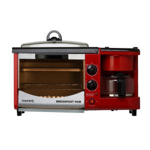Courant 3-in-1 Multifunction Breakfast Hub Red and Black 4-Slice Toaster Oven, 10 inch Dia Griddle Pan and 5-Cup Coffee Maker by Courant
