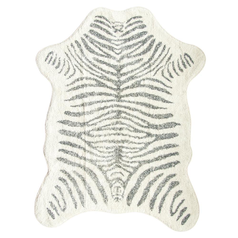 White and Black 4.5 ft. x 6.5 ft. Zebra Print Area Rug
