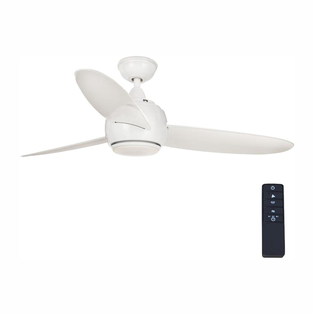 Home Decorators Collection Hedley 54 In Integrated Led Indoor White Ceiling Fan With Light Kit And Remote Control Am441 Wh The Home Depot