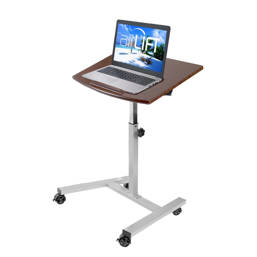 AIRLIFT Walnut/ Gray Tilting Mobile Laptop Computer Desk Cart /w Stopper Ledge Adjustable Height Range 23.6 to 36.4 in