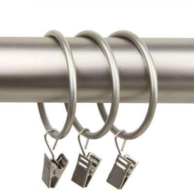 2 in. Decorative Rings in Satin Nickel with Clips (Set of 10)