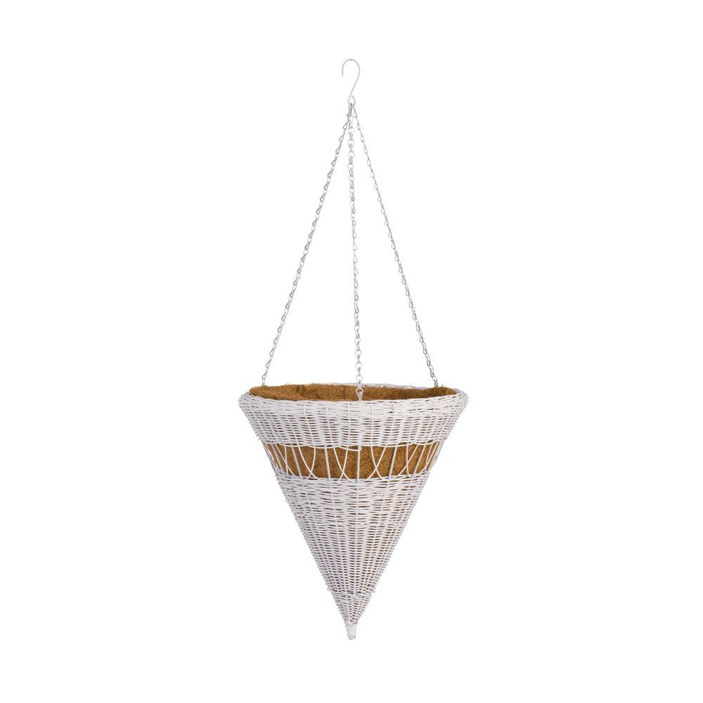 DMC 14 in. White Cone Resin Wicker Hanging Basket