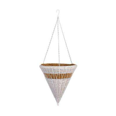 14 in. White Cone Resin Wicker Hanging Basket