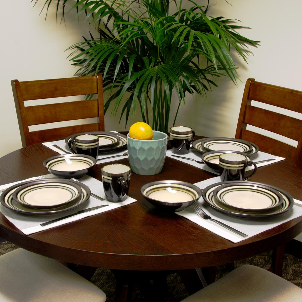 Lewisville 16-Piece Gray Dinnerware Set