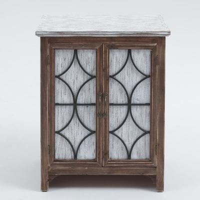 White Decorative Wood Cabinet with Double Doors