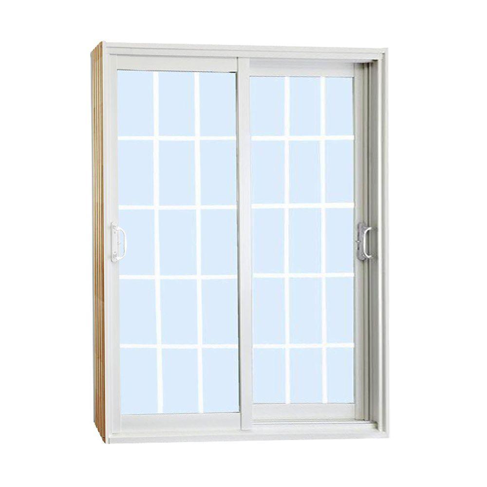 Double Sliding Patio Door with 15 Lite Internal White