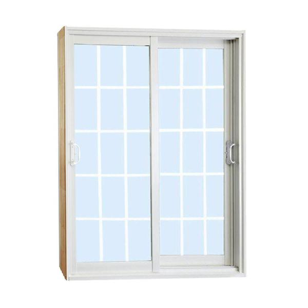 60 in. x 80 in. Double Sliding Patio Door with 15 Lite Internal White Flat Grill