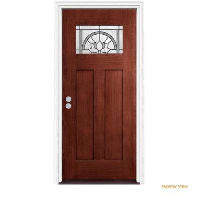 36 in. x 80 in. Craftsman Ardsley Black Cherry Right-Hand Stained Fiberglass Prehung Front Door w/Brickmould