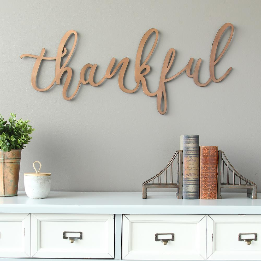 Stratton Home Decor Bronze Thankful Script Decorative Sign Wall