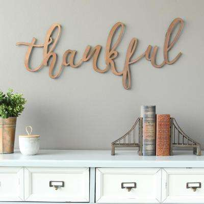 "Bronze ""thankful"" Script Decorative Sign Wall Decor"