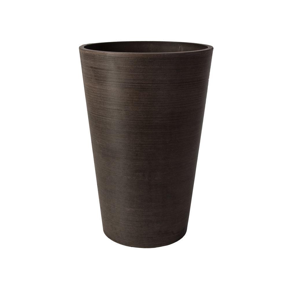 Valencia 16 in. Round Textured Brown Polystone Planter