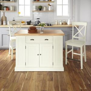 HOMESTYLES Nantucket White Kitchen Island with Wood Top and ...