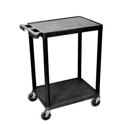 STC 24 in. W x 18 in. D Flat 2-Shelf Utility Cart - Black