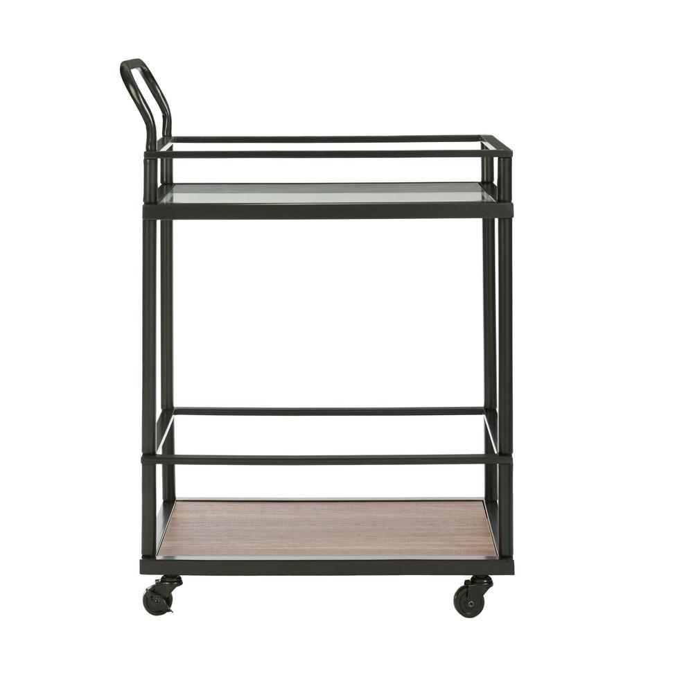 Carter Modern Rolling Glass Bar 2-Tier Serving Cart Matte Black Metal Frame Oak Wood Shelf