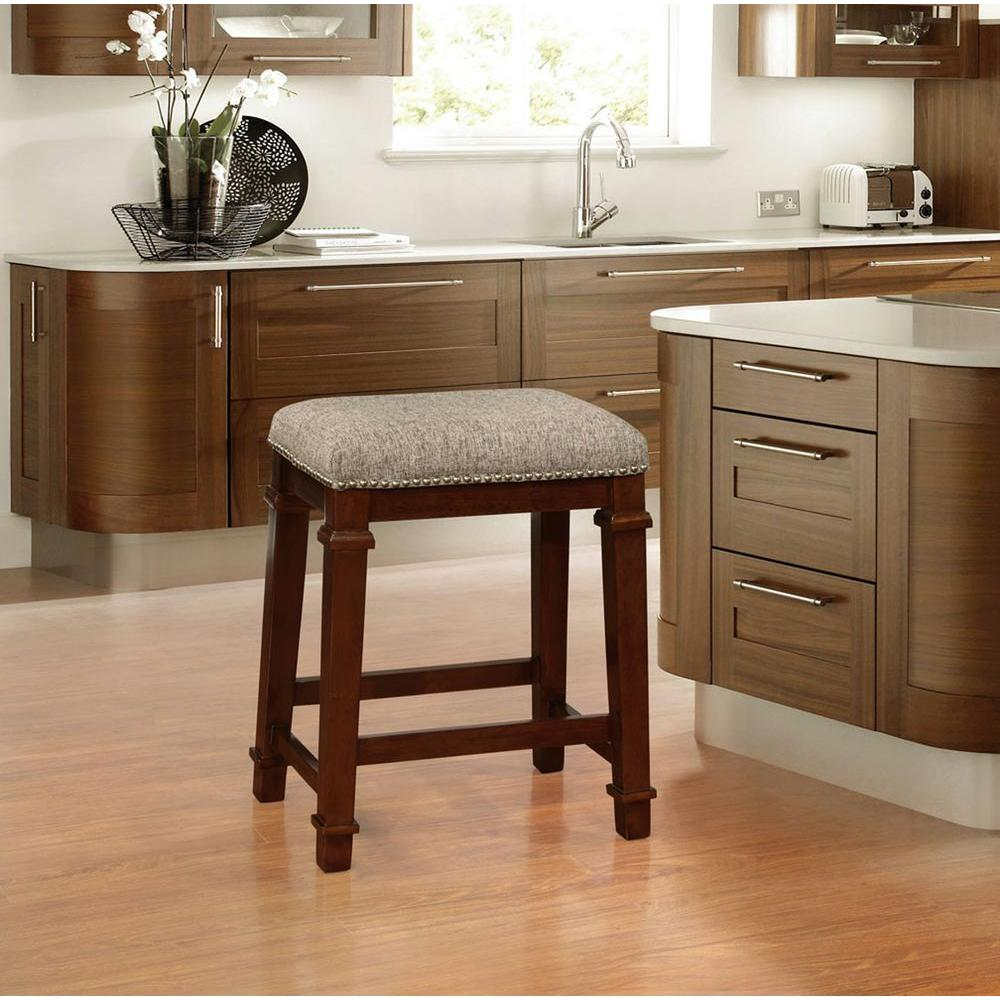Linon Home Decor Kennedy 24 In Walnut Cushioned Bar Stool 558121twd01u The Home Depot