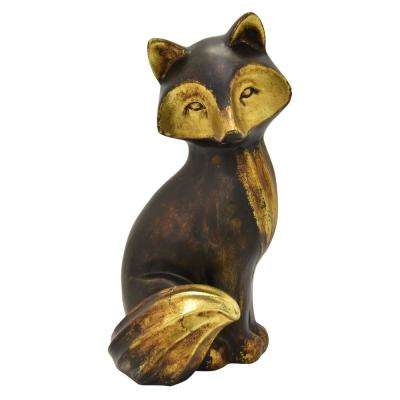 9.75 in. Fox Sitting Tabletop Bronze
