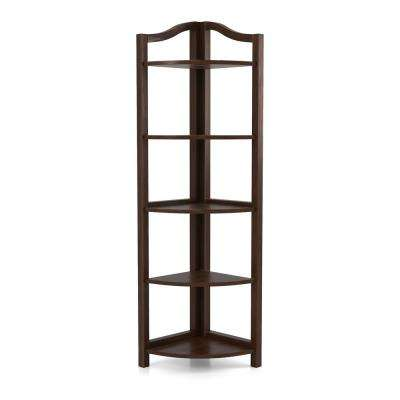 Neil Espresso 5-Tier Corner Shelving Unit