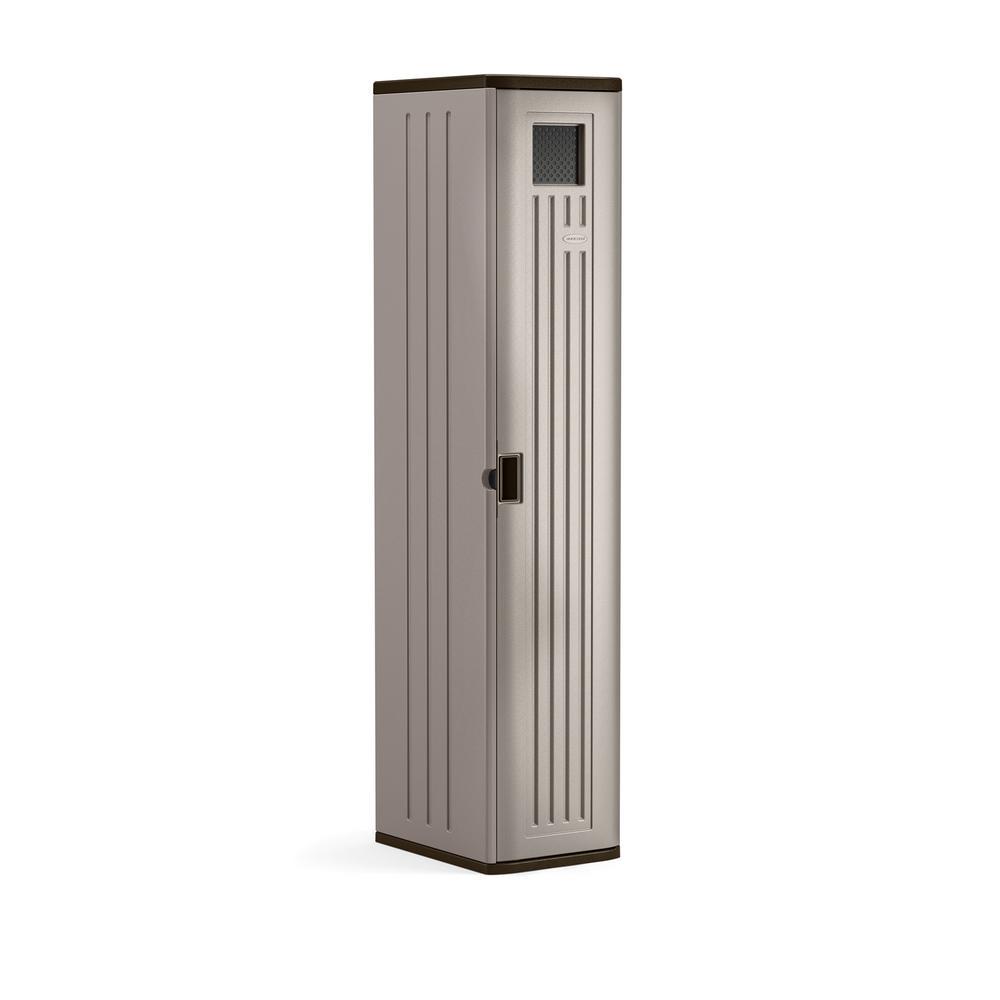 72 in. X 15 in. X 20 in 2-Shelf Resin Tall Storage Locker in Platinum