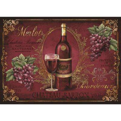 MHF Home Red Wine 18 in. W x 13 in. L Polypropylene Placemat Set (4-Pack)
