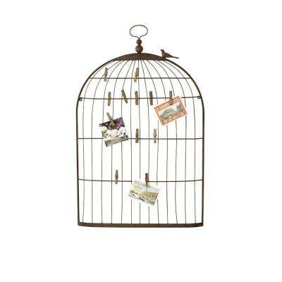 35 in. H Bronze Bird Cage Card Holder