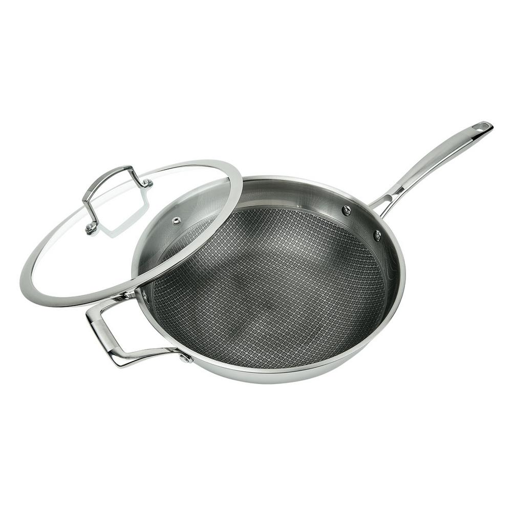 3-Ply Stainless Steel Premium ILAG 11 in. Non-Stick Scratch-Resistant Wok with