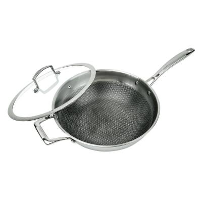 3-Ply Stainless Steel Premium ILAG 11 in. Non-Stick Scratch-Resistant Wok with Glass Lid