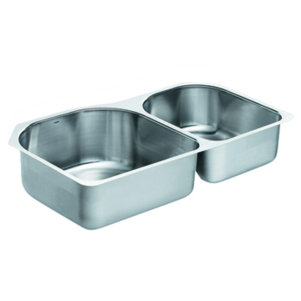 MOEN Lancelot Undermount Stainless Steel 34.6 in. x 20.6 in. x 8 in. Double Bowl Kitchen Sink-DISCONTINUED