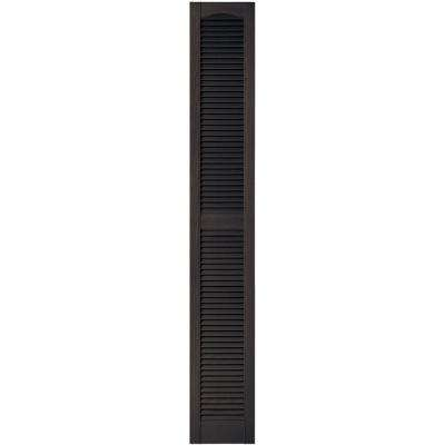 12 in. x 80 in. Louvered Vinyl Exterior Shutters Pair in #010 Musket Brown