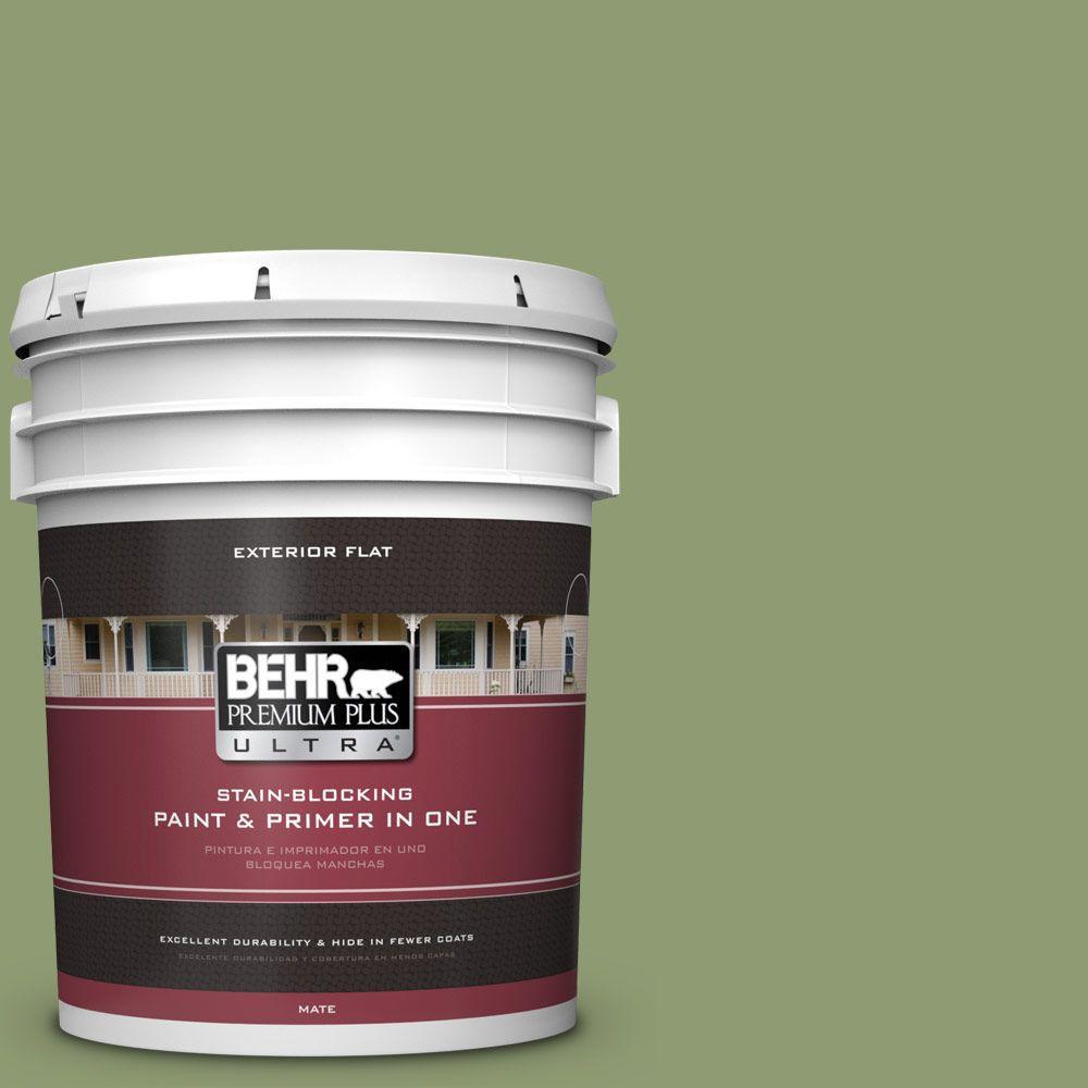 BEHR Premium Plus Ultra 5-gal. #PPU11-4 Alamosa Green Flat Exterior Paint