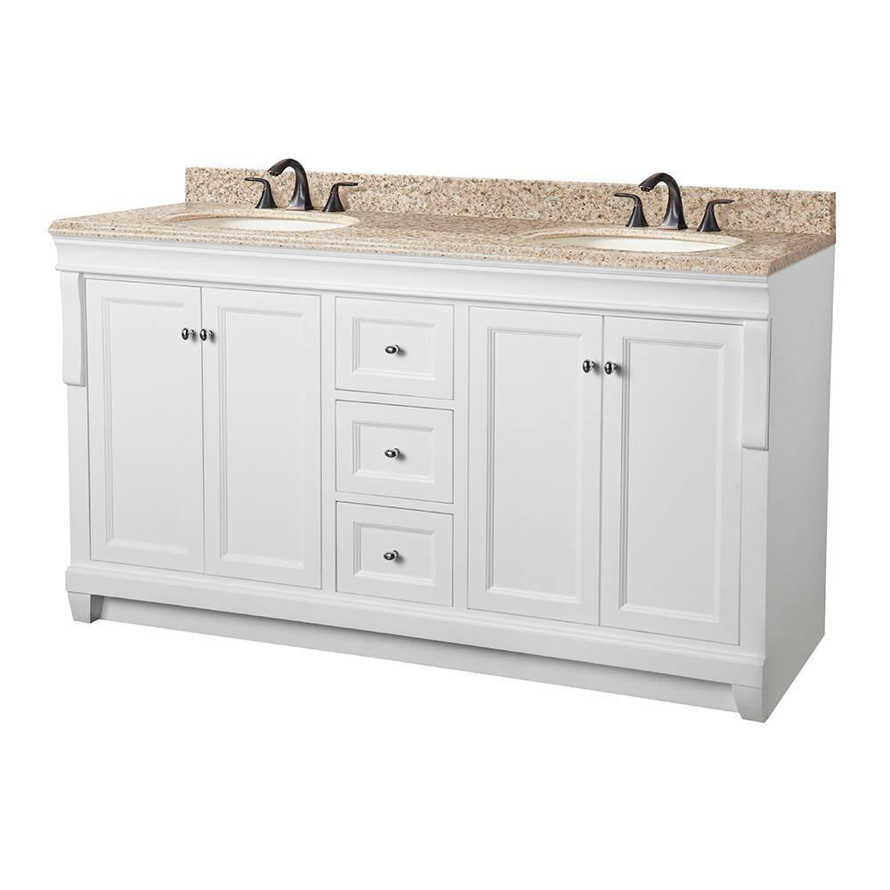 Home Decorators Collection Naples 61 in. W x 22 in. D Vanity in White with Granite Vanity Top in Beige with White Sink