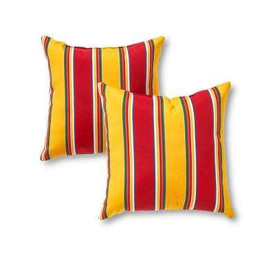 Carnival Stripe Square Outdoor Throw Pillow (2-Pack)