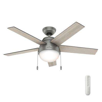 Anslee 46 in. Indoor Matte Silver Ceiling Fan with Light bundled with Universal Remote Control