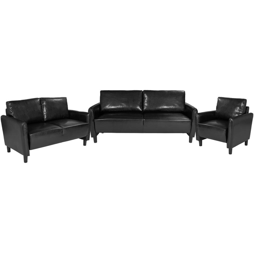 2-Piece Black Leather Living Room Sets