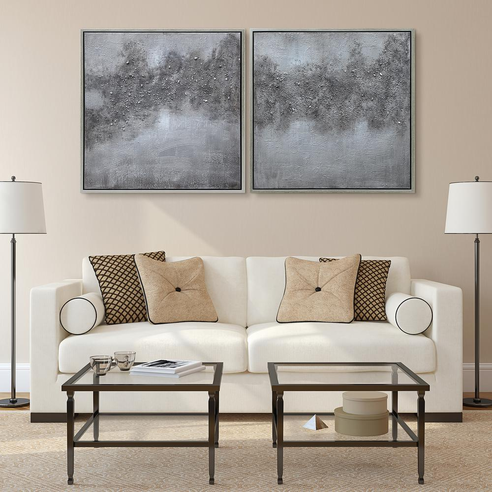 ''Fog'' Textured Metallic Hand Painted by Martin Edwards Abstract Diptych Set Framed Canvas Wall Art