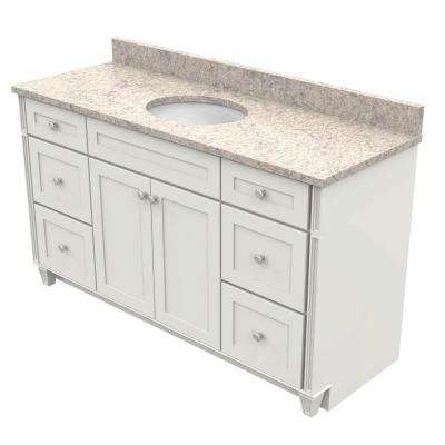 60 in. Vanity in Dove White with Natural Quartz Vanity Top in Shadow Swirl and White Basin