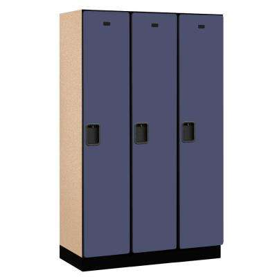 21000 Series 1-Tier Wood Extra Wide Designer Locker in Blue - 15 in. W x 76 in. H x 18 in. D (Set of 3)