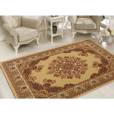 Clifton Collection Traditional Medallion Design Beige 5 ft. x 7 ft. Area Rug