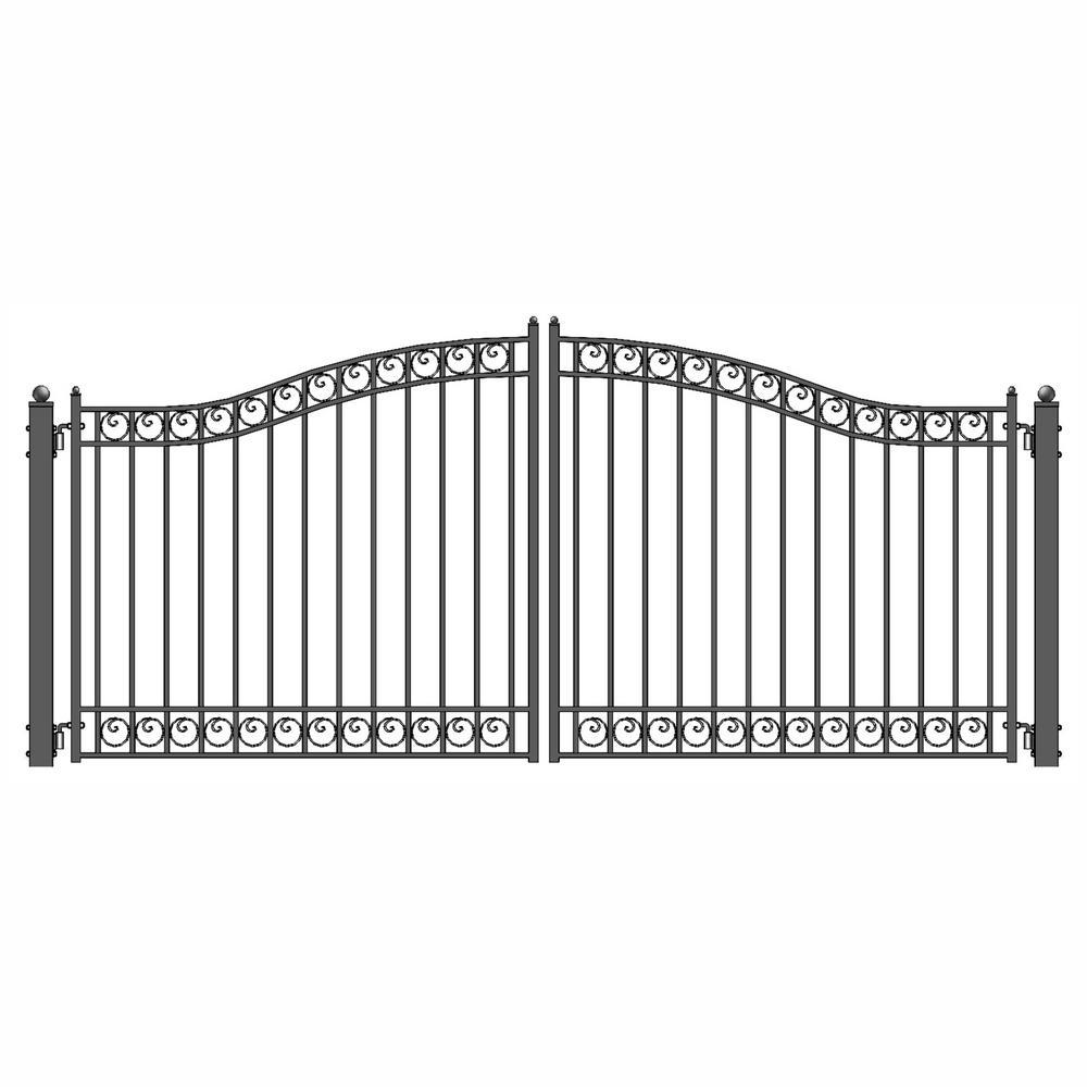 Dublin Style 12 ft. x 6 ft. Black Steel Dual Swing Driveway Fence Gate