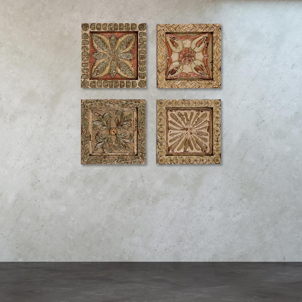 titan lighting 16 in x 16 in carved wood plaques wall art set of